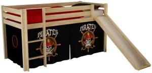 Pino Hochbett Natur lackiert 90x200 cm Piraten Softdeluxe