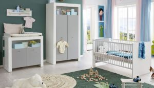 Babyzimmer Wilson weiß und grau komplett Set 4-teilig