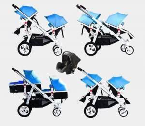 Babyfivestar Geschwisterwagen Blau inkl. Babyschale