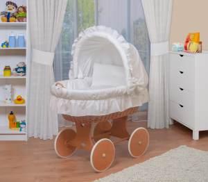 WALDIN Stubenwagen-Set mit Ausstattung, Ausstattung weiß, Gestell/Räder natur lackiert