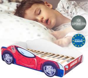 Alcube Autobett Kinder Rot 160x80 cm - Auto Kinderbett ohne Matratze, mit Lattenrost & Rausfallschutz - Holz Bett für Kinder ab 2 bis 3 Jahren - 80x160 cm