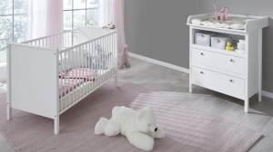 trendteam smart living Babyzimmer 2-teiliges Komplett Set in Weiß mit viel Stauraum und großzügiger Wickelfläche