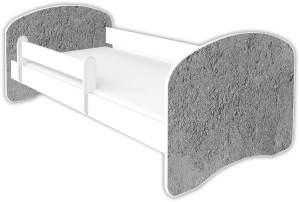 Clamaro 'Schlummerland Dekor' Kinderbett 80x160 cm, Design 23, inkl. Lattenrost, Matratze und Rausfallschutz (ohne Schublade)
