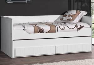 Robin Kojenbett Jugendbett Bettgestell Kinderbett Bett 90x200 cm Weiß, inkl. Matratze Soft