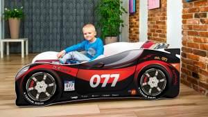 Lux4Kids 'Delfin' Autobett 70x140 cm, 77 Red Black, mit Matratze und Lattenrost