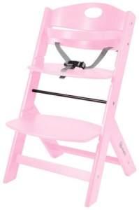 BabyGO 'Family' Treppenhochstuhl, pink, höhenverstellbar, Buche massiv, mit Sicherheitsbügel und Gurt