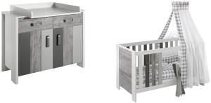 Schardt Sparset Woody Grey bestehend aus Kombi-Kinderbett inklusive Umbauseiten