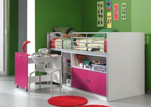 Kinderbett Jugendbett Bonny 90 x 200 cm Weiß / Lila, inkl. Matratze Basic