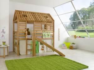 Spielbett Tom´s Hütte und Bett Eliyas mit Rutsche und Textilset, Buche massiv geölt