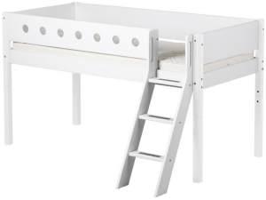 Flexa 'White' Halbhochbett weiß, schräge Leiter, 90x190cm