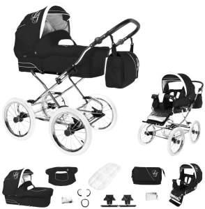 Bebebi Loving | 2 in 1 Kombi Kinderwagen | Nostalgie Kinderwagen | Farbe: Black Tender