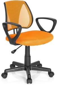 hjh OFFICE 725107 Kinder- und Jugenddrehstuhl KIDDY CD Netzstoff Orange höhenverstellbarer Schreibtischstuhl mit Armlehnen