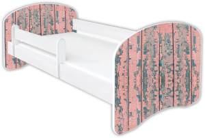 Clamaro 'Schlummerland Dekor' Kinderbett 80x160 cm, Design 4, inkl. Lattenrost, Matratze und Rausfallschutz (ohne Schublade)