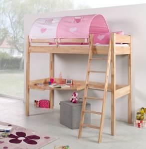 Relita 'RENATE' Multifunktionsbett mit Schreibtisch Buche, Stoffset Rosa/Weiß inkl. Matratze