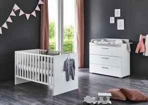Arthur Berndt 'Liene' Babyzimmer Sparset 2-teilig, Kinderbett (70 x 140 cm) und Wickelkommode mit Wickelaufsatz MDF Weiß Strasssteine