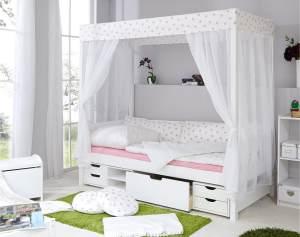 Ticaa 'Weiß-Rosa' Himmelbett 310 Kiefer Weiß inkl. Bettkasten 'Marlies' 90x200