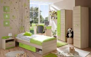 Ticaa 'Junis' 6-tlg. Kinderzimmer-Set, beige/grün, aus Bett 80x190 cm, Kleiderschrank, Schreibtisch, Standregal, Nachtkommode und Hängeregal