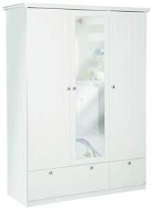 Florenz - grosser 3-türiger Kleiderschrank mit Spiegel und 2 Schubladen mit Soft-Close, inkl 5 grossen Böden und 1 Kleiderstange, gefräste Fronten, weiss