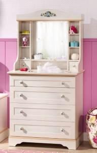 Cilek FLORA Kommode mit Spiegel Anrichte Sideboard Kinderzimmer Birke hell
