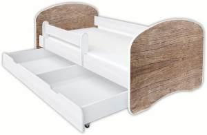 Clamaro 'Schlummerland Dekor' Kinderbett 80x180 cm, Design 10, inkl. Lattenrost, Matratze, Rausfallschutz und Schublade