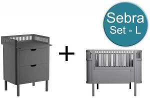 Sebra Baby & Juniorbett mit Kommode Set-L Classic Grey Grau