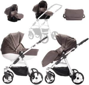 Friedrich Hugo PCS_EASYCOM-DE-005 Easy Comfort, 3 in 1 Kombi Kinderwagen Komplettset, Taupe & Leatherette, mehrfarbig