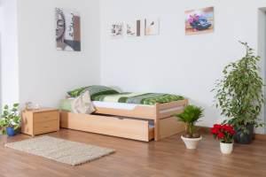 Einzelbett/GästebettEasy Premium Line K1/1h inkl. 2. Liegeplatz und 2 Abdeckblenden, 90 x 200 cm Buche Vollholz massiv Natur