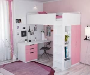 Polini Kids Funktions-Hochbett weiß/rosa, inkl. Kleiderschrank und Schreibtisch