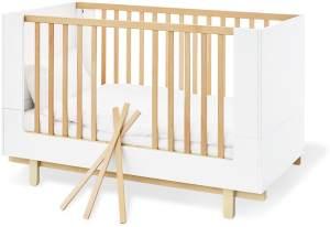 Pinolino 'Boks' Kombi-Kinderbett 70x130 cm, weiß/natur, 3-fach höhenverstellbar, Schlupfsprossen
