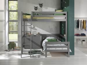 Vipack Winkel Hochbett mit 2 Liegeflächen 90/140 x 200 cm und 2-trg. Kommode, Ausf. grau lackiert