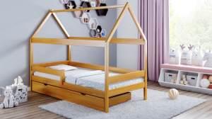 Kinderbettenwelt 'Home Plus' Hausbett 90x200 cm, braun, Kiefer massiv, mit Schublade und Matratze