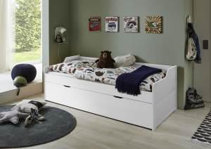 Relita 'LILLY' Kojenbett 90x200 Buche massiv, weiß lackiert, inkl Bettkasten