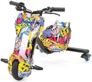 Drift Scooter 360 E-Scooter Drifting GoKart Drifter Dreirad Trike 250 Watt (Gelb Graffiti)