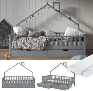 VitaliSpa 'Noemi' Hausbett grau, 90x200cm, Massivholz Kiefer, inkl. Matratze, 2x Schubladen, Lattenrost und Rausfallschutz