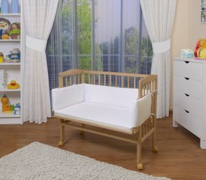 WALDIN Beistellbett mit Matratze, höhenverstellbar, Große Liegefläche, Ausstattung weiß, Gestell Natur unbehandelt