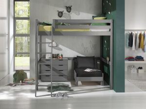 Vipack Hochbett grau 140 x 200 cm inkl. Sesselbett und Schubladen Kommode