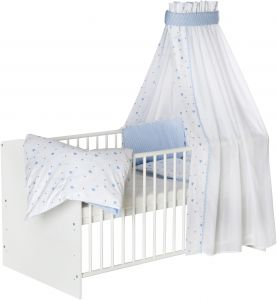 Schardt 'Classic White' Kombi-Kinderbett weiß, inkl. Ausstattung 'Herzchen' blau