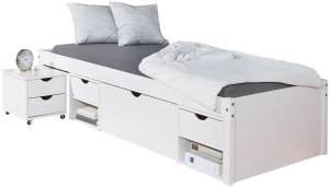 PKline 'Timm' Stauraumbett, 90x200cm, weiß, inkl. Nachttisch