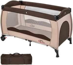 TecTake Kinderreisebett 60x120 cm, coffee, mit Schlupfloch, Transporttasche und Rollen