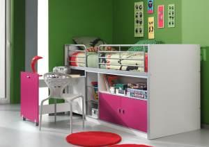Kinderbett Jugendbett Bonny 90 x 200 cm Weiß / Lila Soft