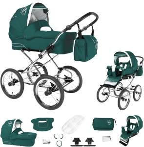 Bebebi Loving | 2 in 1 Kombi Kinderwagen | Nostalgie Kinderwagen | Farbe: Green Ardent