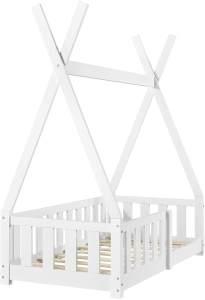 en.casa Tipibett, Weiß, 70x140 cm, inkl. Lattenrost und Rausfallschutz, Kiefer massiv