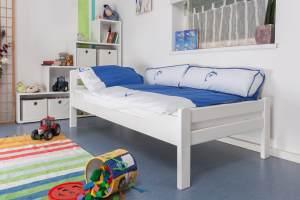 "Kinderbett/Jugendbett""Easy Premium Line"" K1/2n, Buche Vollholz massiv weiß lackiert - Maße: 90 x 190 cm"