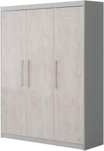 Roba 'Maren 2' 3-trg. Kleiderschrank, weiß/lichtgrau, Kleiderstange und 7 Aufbewahrungsfächern
