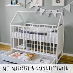 Babybett mit Matratze und Schublade Gitterbett Kinderbett Hausbett 60x120 cm wei hhenverstellbar und umbaubar Beistellbett 60 x 120