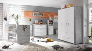 Mäusbacher 'Frieda' 5-tlg. Babyzimmer-Set, vintage wood grey/weiß matt, aus Bett 70x140 cm inkl. Umbauseiten, Kleiderschrank, Wickelkommode, Wandregal und Beistellschrank