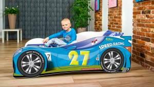 Lux4Kids 'Delfin' Autobett 70x140 cm, 27 Racing Blue, mit Matratze und Lattenrost