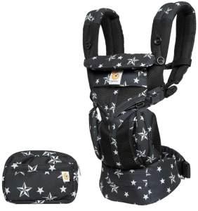 Ergobaby 'Omni 360 Cool Air' Babytrage, 4 Tragepositionen, Black Stars, inkl. abnehmbarer Beutel