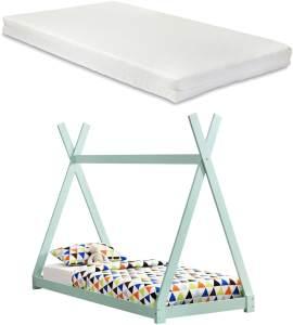 [en.casa] Tipi-Bett Mintgrün 90x200 cm, inkl. Lattenrost und Matratze