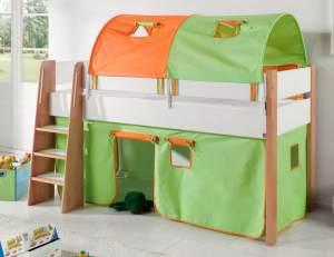 Relita 'SAM 3' Hochbett inkl. Stoffset 'Grün/Orange' und Matratze